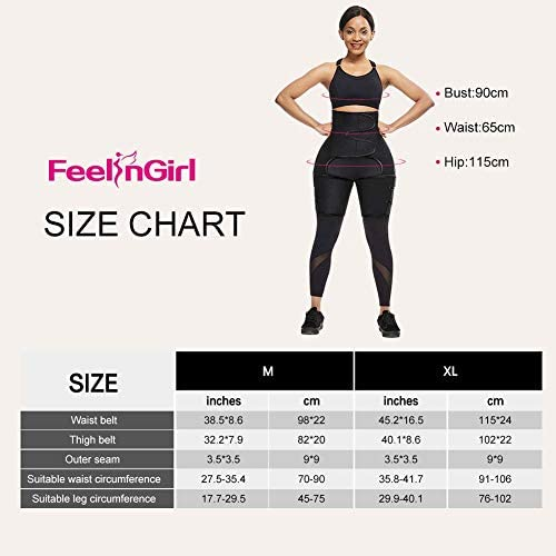 FeelinGirl Neoprene Sweat Waist Trainer and Thigh Trimmer Butt Lifter High Waist Thigh Slimmer Workout Body Belts Fitness 7