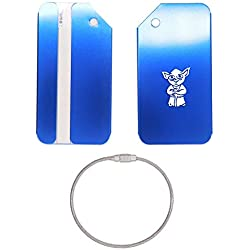YODA STAR WARS STAINLESS STEEL - ENGRAVED LUGGAGE TAG - SET OF 2 (ROYAL BLUE) - UNITED STATES MILITARY STANDARD - FOR ANY TYPE OF LUGGAGE, SUITCASES, GYM BAGS, BRIEFCASES, GOLF BAGS