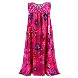 Emimarol Women Dress Summer O Neck Sleeveless Dress Boho Laced Printed Dress Hot Pink