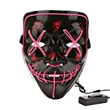 Halloween Costume Festival Parties Scary Mask LED Light Up Masks Pink