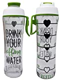 50 Strong BPA Free Reusable Water Bottle with Time Marker - Motivational Fitness Bottles - Hours Marked - Drink More Water Daily - Tracker Helps You Drink Water All Day -Made in USA (Effing, 24 oz.)