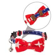 PAWCHIE-American-Flag-Cat-Collars-Breakaway-2-Pack-Bow-Tie-Collar-for-Cats-with-Bell-Adjustable