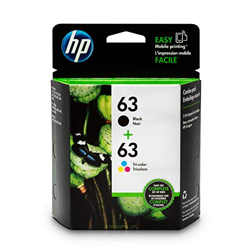 HP 63 Black & Tri-color Ink Cartridges, 2 Cartridges (F6U61AN, F6U62AN) for HP Deskjet 1112 2130 2132 3630 3632 3633 3634 3636 3637 HP ENVY 4512 4513 4520 4523 4524 HP Officejet 3830 3831 3833 4650