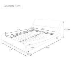 Amolife Queen Platform Bed, Fabric Upholstered Full Bed Frame, Modern Mattress Foundation with headboard,Grey
