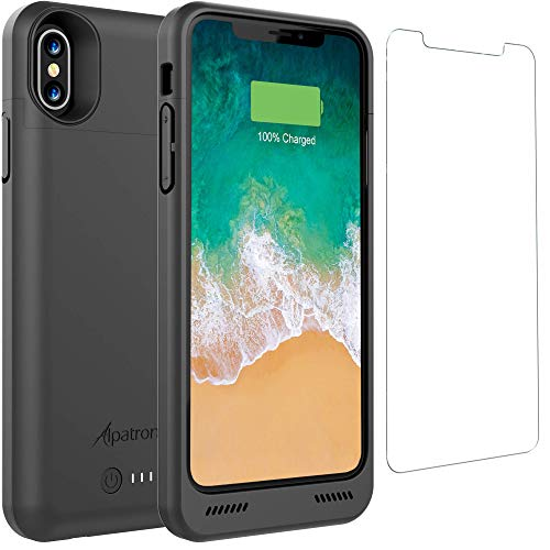 Alpatronix iPhone Xs/X Battery Case, BXX 4200mAh Qi Compatible Wireless Portable Power Bank and iPhone Xs Slim Charger, 50% Faster Charging Battery Pack, Original iPhone Lightning Chip - Black