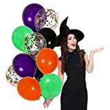 Treasures Gifted Orange Green Purple and Black 12 Inch Latex Halloween Balloons Party Decorations Cute Decor with Colorful Confetti Bright Supplies for Scary Occasions