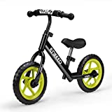 ENKEEO 12 Sport Balance Bike No Pedal Walking Bicycle with Carbon Steel Frame, Adjustable Handlebar and Seat, 110lbs Capacity for Ages 2 to 6 Years Old, Black (Renewed)