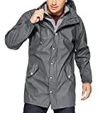 URRU Men's Hooded Softshell Outdoor Windproof Waterproof Raincoat Mountain Lightweight Jacket Grey L
