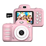 Wonvin Kids Digital Camera Gifts for 4-10 Year Old Girls, Shockproof 2.4 Inch Screen Cameras Gift Mini Child Camcorder with Soft Silicone Shell for Outdoor Play,(16GB Micro SD Card Included)
