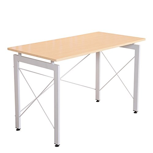 HOMCOM 48' Sturdy Simple Late Modern Home Office Desk Workstation With Anti-Slip Feet - Natural/White