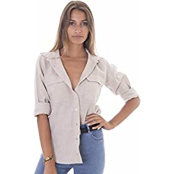 CAMIXA Womens 100% Linen Button Down Shirt Casual Basic Blouse Pockets Loose Top M Natural