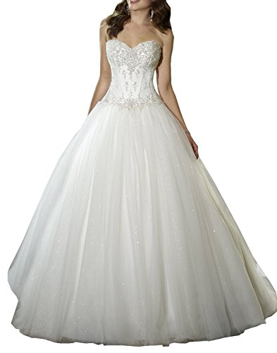 """Please Use the Size Chart Image on the Left. Do not use Amazon's """"Size Chart"""" link. Fabric:lace, tulle, satin Strapless corded lace, tulle and tiara satin A-line wedding dress with sweetheart neckline, curved back bodice."""