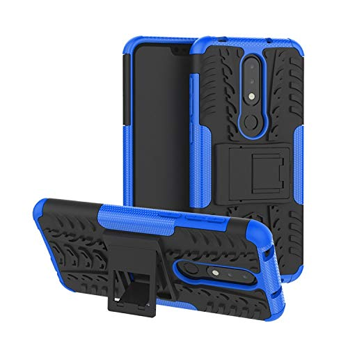 Prime Retail Nokia 6.1 Plus Hybrid Armor Back Cover Case with Kickstand Wheel Pattern for Nokia 6.1 Plus(Blue) 103