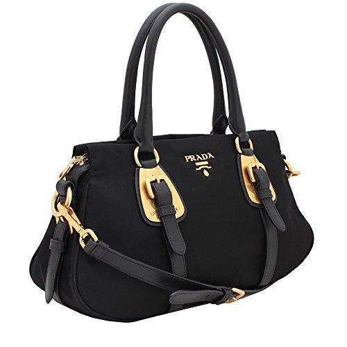 d545c994ccd2 Prada Tessuto Black Nylon Leather Convertible Top Handle Satchel Bag ...
