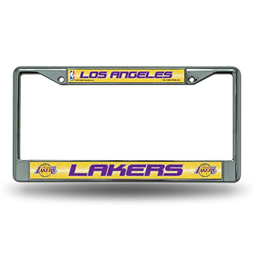NBA Los Angeles Lakers Bling Chrome License Plate Frame with Glitter Accent