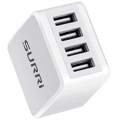 SURRI USB Wall Charger, 4.8A/24W 4-Port Universal USB Travel Wall Charger with Smart Technology Compatible Phone X/8/7, Pad Pro/Air2 Samsung Galaxy/Note,Nexus, and More (White, 1Pack)