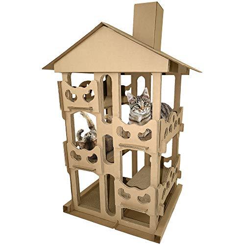 FurHaven Pet Cat Scratcher | Tower Playground Corrugated Cat Scratcher House w/ Catnip, Cardboard (Brown), One Size