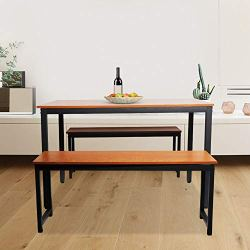 LinkRomat Modern 3 Piece Set with 2, Breakfast Nook Table, Solid Pine Wood Tabletop and Benches for Home Kitchen Dining…