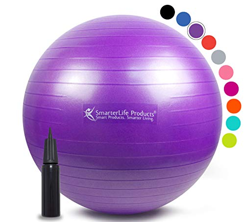 Exercise Ball for Yoga, Balance, Stability from SmarterLife - Fitness, Pilates, Birthing, Therapy, Office Ball Chair and Flexible Seating   Anti Burst, Non Slip   + Workout Ball Guide (Purple, 65 cm)