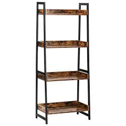IRONCK Industrial Bookshelf 4-Tier, Bookcase 60″ H Ladder Shelf, Storage Shelves Rack Shelf Unit, Accent Furniture Metal Frame, Home Office Furniture for Bathroom, Living Room, Vintage Brown
