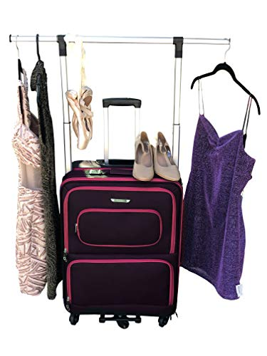 The Dance Angel Suitcase Size Medium Hot Pink and Black'The Classic' (Rolling Dance Bag With Costume Rack)