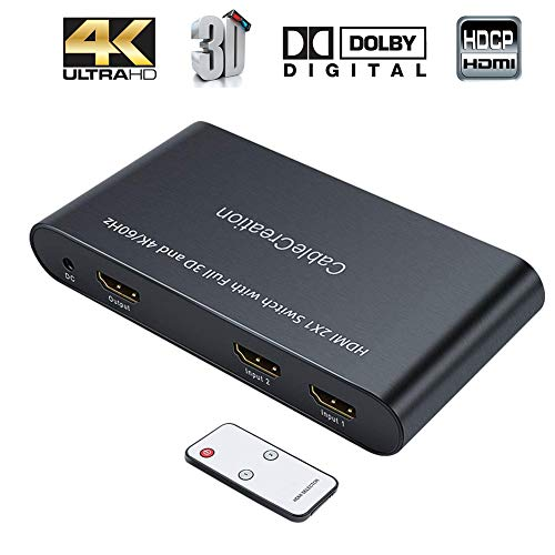 HDMI-Switch-4K-CableCreation-2-Ports-HDMI-Switcher-Splitter-4K60Hz-3D-Full-HD-1080P-2-in-1-Out2x1-Hub-with-IR-Remote-Controller-for-Roku-Blu-ray-PlayerPS3PS4