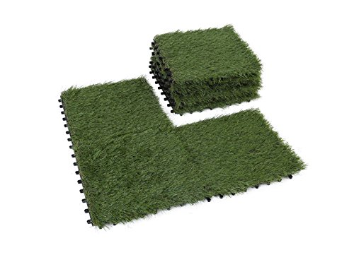 Golden Moon Artificial Interlocking Grass Deck Tiles Synthetic Grass Carpet Tiles Indoor Outdoor Artificial Grass Area Rugs Pile Height 1.5in 1'x1' (9 pieces)