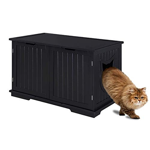 Sweet Barks Designer Cat Washroom Storage Bench Cat Litter Box Enclosure Furniture Box House with Table (Black)