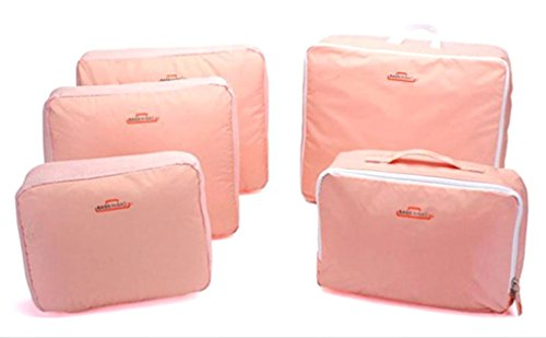 Space Saver Bags Amc 5-Piece Lightweight Luggage Travel Packing Organizers, Pink
