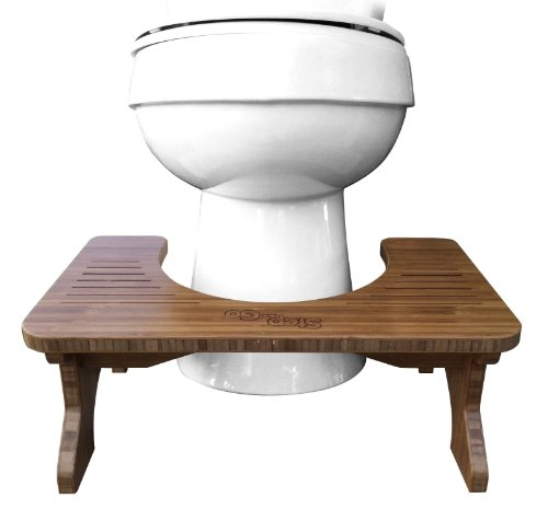 Step and Go Bamboo Squatting Toilet Stool for Potty Aid (7' and 9')