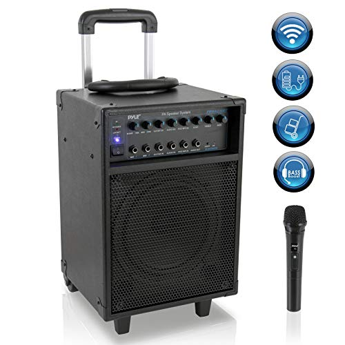 Wireless Portable PA Speaker System - 400W Bluetooth Compatible Rechargeable Battery Powered Outdoor Sound Stereo Speaker Microphone Set w/ Handle, Wheels - 1/4' to AUX, RCA Cable - Pyle PWMA230BT