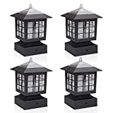 KMC LIGHTING KS101X4 Outdoor Solar Post Fence Paveway Pathway Square Lights 4 Pack with 4-Inch Fitter Base Outdoor Garden Post Pole Mount 4.88X4.88X7.48'