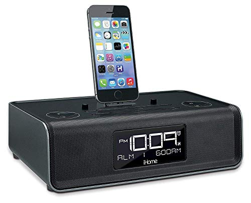 iHome iDL43 Lightning Dock Dual Clock Radio with USB Charge/Play for iPhone 5/5S & 6/6Plus & All iPad Models with Lightning Connector - Newest Model (Black New Model)