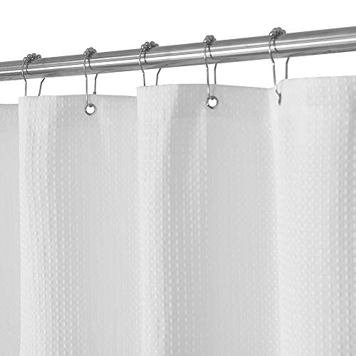 Waffle Weave Fabric Shower Curtain - Spa, Hotel Luxury, Heavy Duty, Water Repellent, White - Pique Pattern, 71' x 72' for Decorative Bathroom Curtains (230 GSM)