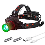 H10 High Power Green LED Zoomable Hunting Headlight for Scanning Coons,Coyotes,Predators,18650 Batteries Operated USB Rechargeable Hunting Headlamp,Lightweight,Rainproof,Adjustable Headband (GREEN)