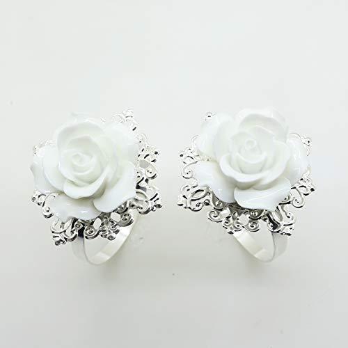 AngHui ShiPin 10pcs White Rose Napkin Ring Serviette Holder for Wedding Party Dinner Table Decor for Christmas Table