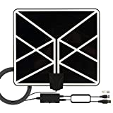 HDTV Antenna 4K 1080p, 2019 New Indoor Amplified Digital TV Antenna 120 Miles Range with Amplifier Signal Booster Free Local Channels with 18 FT Coaxial Cable