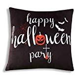 Pumpkin Happy Halloween Party Black Cushion Lightweight Comfy Luxury Velvet Throw Pillow 16x16 Inch Square Zipper Double Side Tie-dyed Pillowcase for Living Room Bed Sofa Couch Home Car Addition Decor