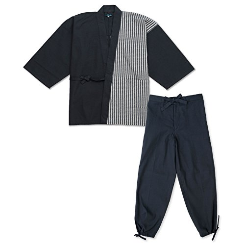 wasuian Men's Samue Working Cloth Cotton Shijira M Black/White Medium Black/White