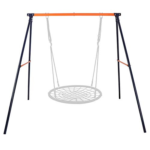 SUPER DEAL Extra Large Heavy Duty All-Steel All Weather A-Frame Swing Frame Set Metal Swing Stand, 72' Height 87' Length, Fits for Most Swings, Fun for Kids (Swing Frame)