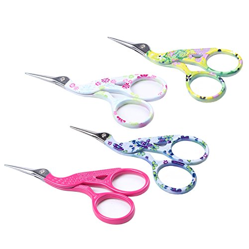 BIHRTC 4 Pairs 3.6' Stainless Steel Sharp Tip Classic Stork Scissors Crane Design Sewing Scissors DIY Tools Dressmaker Shears Scissors for Embroidery, Craft, Needle Work, Art Work & Everyday Use