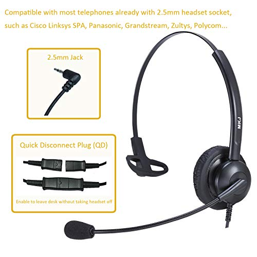 2.5mm Phone Headset for Office Phones with Noise Cancelling Microphone for Panasonic DECT 6.0 Telephone KX-TGF380M KX-TGA680 Cisco SPA303 504G AT&T TL86103 Grandstream Uniden DECT Cordless Phones