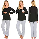 Product review of Aimado Women Contrast Color O-Neck Long Sleeve Maternity Nursing Pajamas Set(S,XXL)