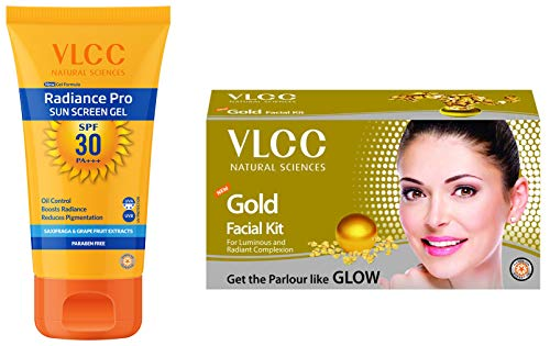 41W86s0H1+L - VLCC Radiance Pro SPF 30 Sun Screen Gel, 50g And VLCC Gold Facial Kit, 60g