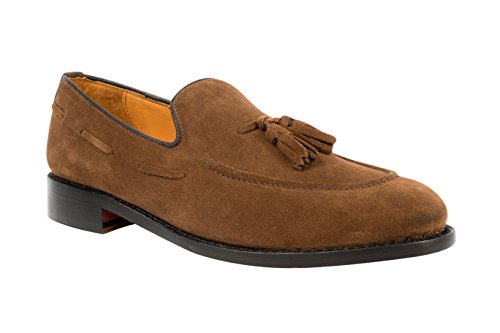 Anthony Veer Men's Kennedy Tassel Leather Loafers with Side Lacing in Goodyear Welted Construction (7.5E, Honey Brown)