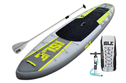ISLE 11' Airtech Inflatable Explorer Stand Up Paddle Board (6' Thick) iSUP Package | Includes Adjustable Travel Paddle, Carrying Bag, Pump
