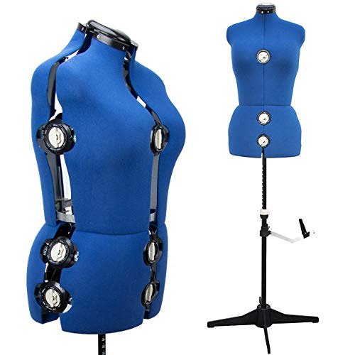 13 Dials Female Fabric Adjustable Mannequin Dress Form for Sewing, Mannequin Body Torso with Tri-Pod Stand, Up to 70' Shoulder Height. (Medium)