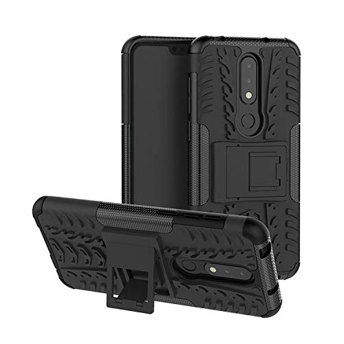 Casodon Nokia 6.1 Plus, Back Cover, Premium Real Hybrid Shockproof Bumper Defender Cover, Kick Stand Back Case Cover for Nokia 6.1 Plus 10