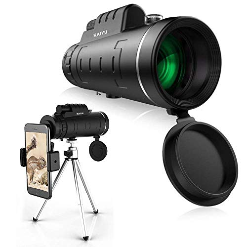 Monocular Telescope, 40X60 High Power HD Monocular with Smartphone Holder & Tripod - [Upgrade] Waterproof Monocular with Durable and Clear FMC BAK4 Prism for Bird Watching, Camping, Hiking, Match