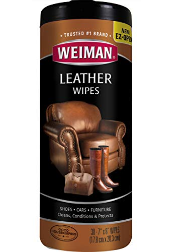 Weiman Leather Wipes - Clean and Condition Car Seats, Shoes, Couches and More - 30 Count (4 Pack)